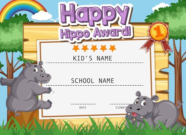 Design de modelo de certificado para hipopótamo feliz com dois hipopótamos no parque