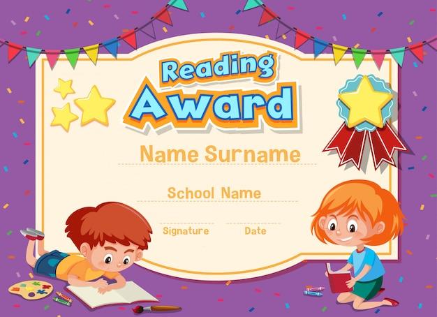 Design de modelo de certificado para leitura de prêmio com duas crianças lendo