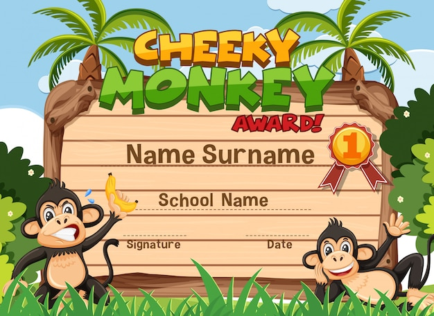 Design de modelo de certificado para prêmio atrevido macaco com macacos