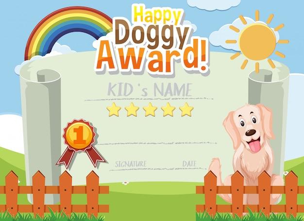 Design de modelo de certificado para prêmio cachorrinho feliz com cachorro fofo no fundo