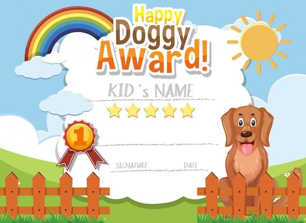 Design de modelo de certificado para prêmio cachorrinho feliz com cachorro fofo no parque