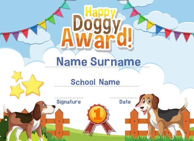 Design de modelo de certificado para prêmio cachorrinho feliz com cachorros fofos no parque