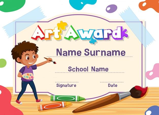 Design de modelo de certificado para prêmio de arte com pintura de menino