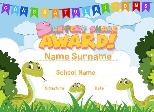 Design de modelo de certificado para prêmio de cobra escorregadia com cobras no fundo