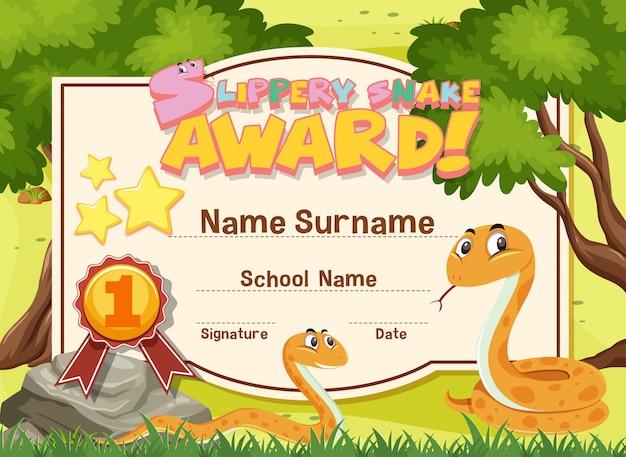 Design de modelo de certificado para prêmio de cobra escorregadia com duas cobras no jardim