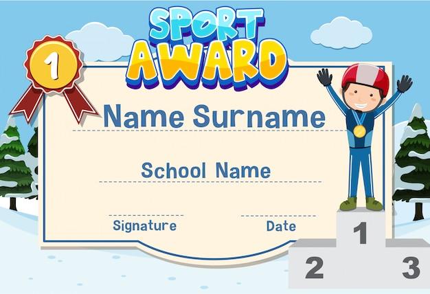 Design de modelo de certificado para prêmio de esporte com atleta sorrindo