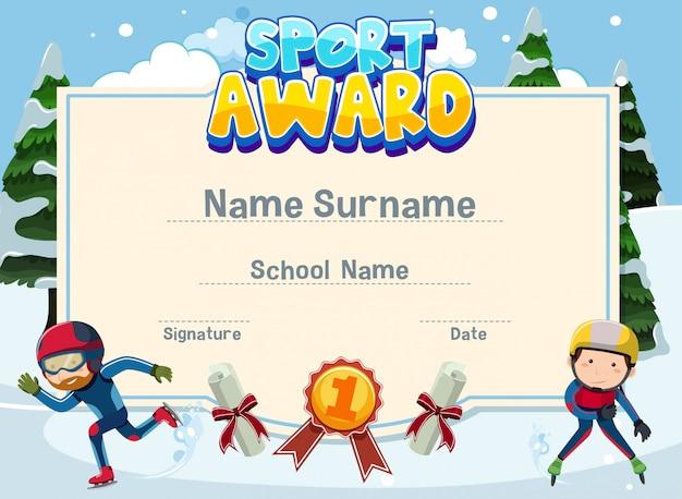 Design de modelo de certificado para prêmio de esporte com dois atletas iceskating