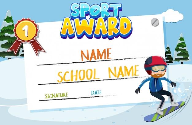 Design de modelo de certificado para prêmio de esporte com homem no snowboard