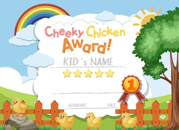 Design de modelo de certificado para prêmio de frango atrevido com filhotes no campo