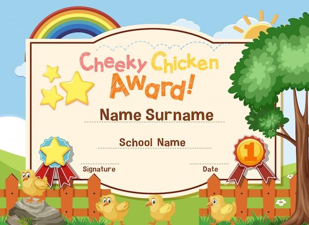Design de modelo de certificado para prêmio de frango atrevido com pintinhos