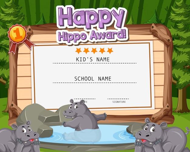 Design de modelo de certificado para prêmio de hipopótamo feliz com hipopótamos na selva