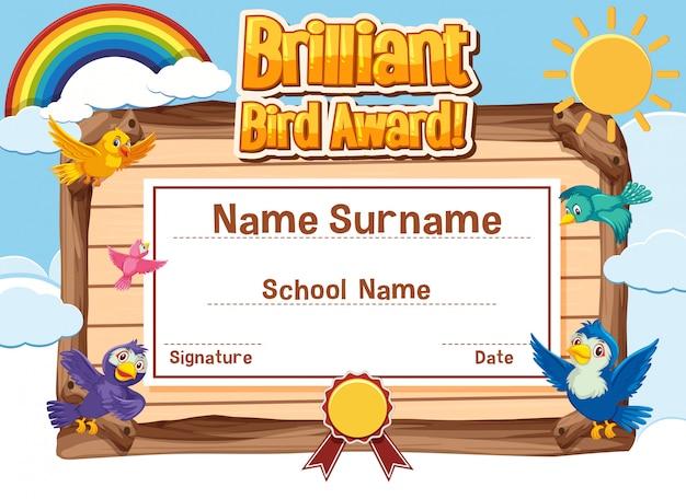 Design de modelo de certificado para prêmio de pássaro brilhante com pássaros voando