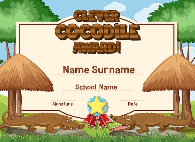 Design de modelo de certificado para prêmio inteligente de crocodilo com crocodilos no fundo
