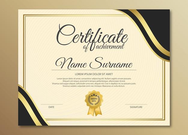 Design de modelo de certificado preto dourado premium.