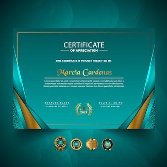 Design de modelo de certificado profissional de luxo