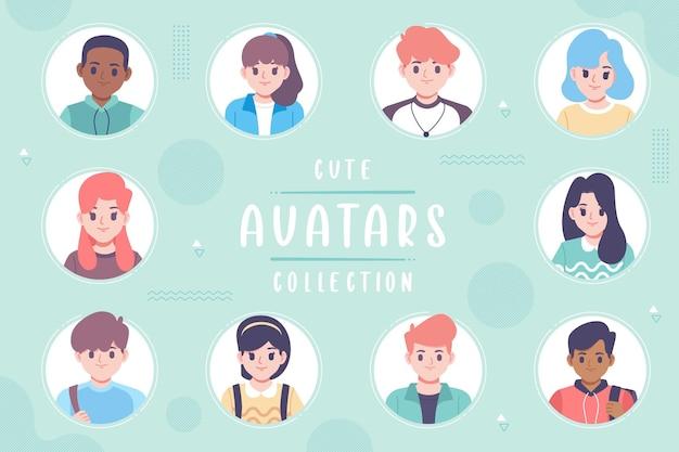 Design de modelo de coleção de avatar fofo