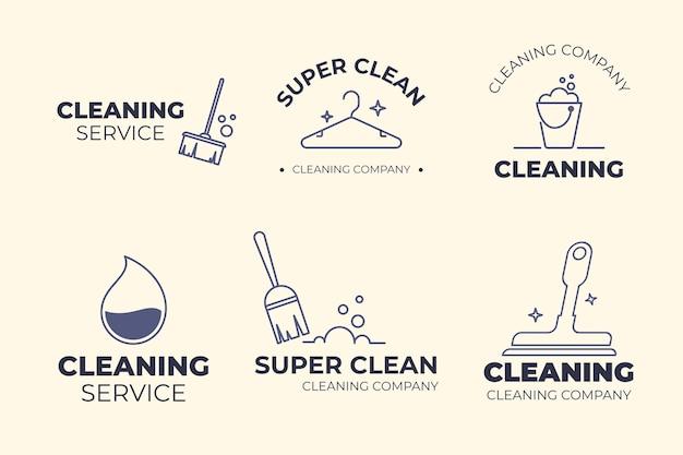 Design de modelo de coleção de logotipo de limpeza
