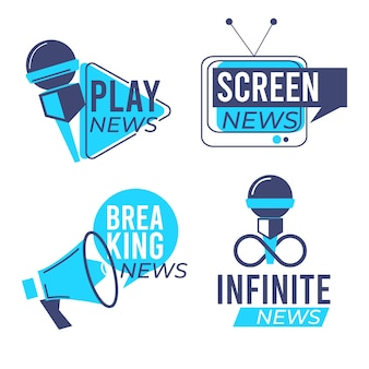 Design de modelo de coleção de logotipo de notícias
