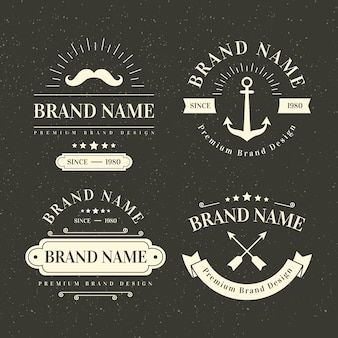 Design de modelo de coleção de logotipo retrô