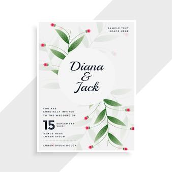 Design de modelo de convite de casamento com folhas bonitas