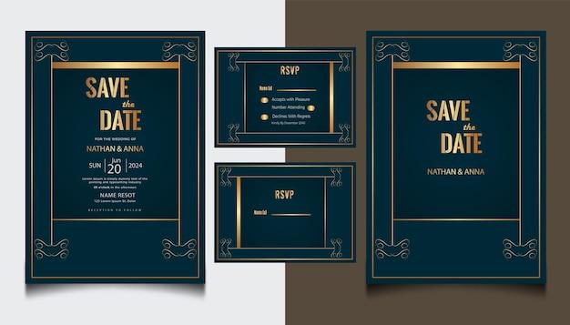 Design de modelo de convite de casamento de luxo