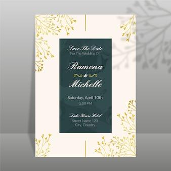 Design de modelo de convite de casamento elegante