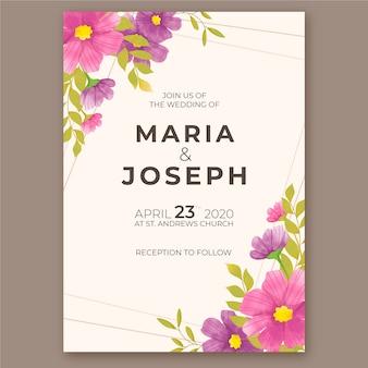 Design de modelo de convite de casamento em aquarela