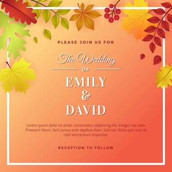 Design de modelo de convite de casamento outono