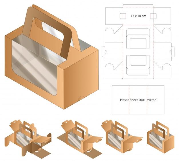 Design de modelo de corte de caixa de embalagem. maquete 3d