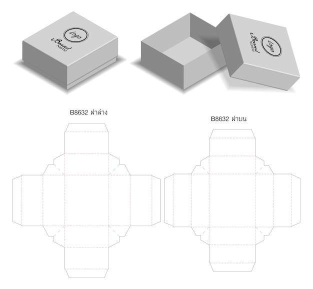 Design de modelo de corte de caixa de embalagem. mock-up 3d