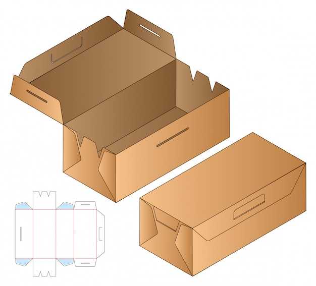 Design de modelo de corte de caixa de embalagem.