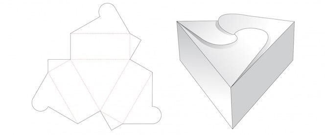 Design de modelo de corte de caixa de presente triângulo