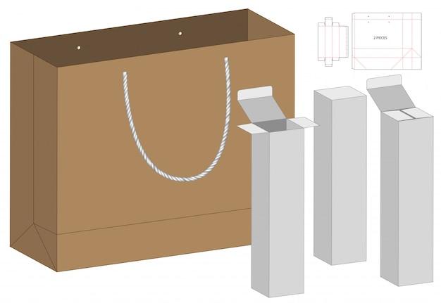 Design de modelo de corte de caixa e saco de embalagem