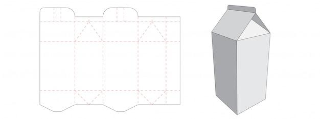 Design de modelo de corte de embalagem de caixa de leite