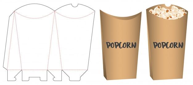 Design de modelo de corte de embalagens de pipoca