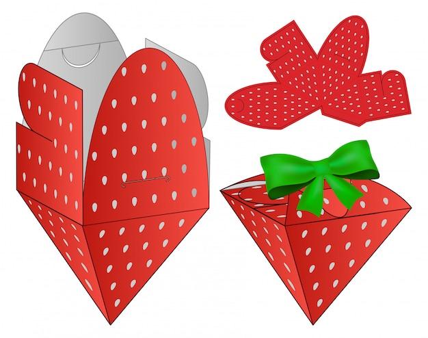 Design de modelo de corte e embalagem de caixa de morango.