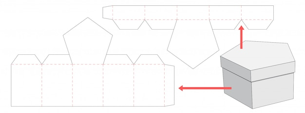 Design de modelo de corte e embalagem de caixa e tampa do pentágono