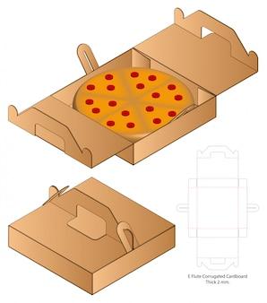 Design de modelo de corte e embalagem de pizza box 3d