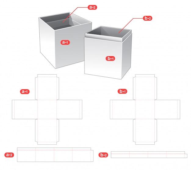 Design de modelo de corte e tampa de caixa e garrafa