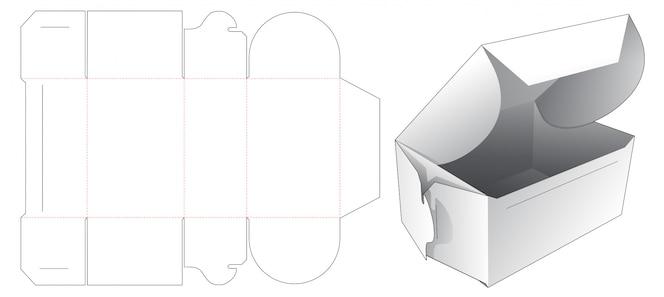 Design de modelo de corte e vinco de caixa de bolo dobrável