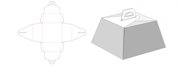 Design de modelo de corte e vinco de embalagem de caixa de bolo trapézio