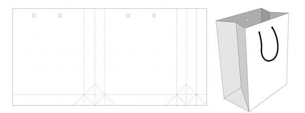 Design de modelo de corte e vinco de embalagem de sacola de compras