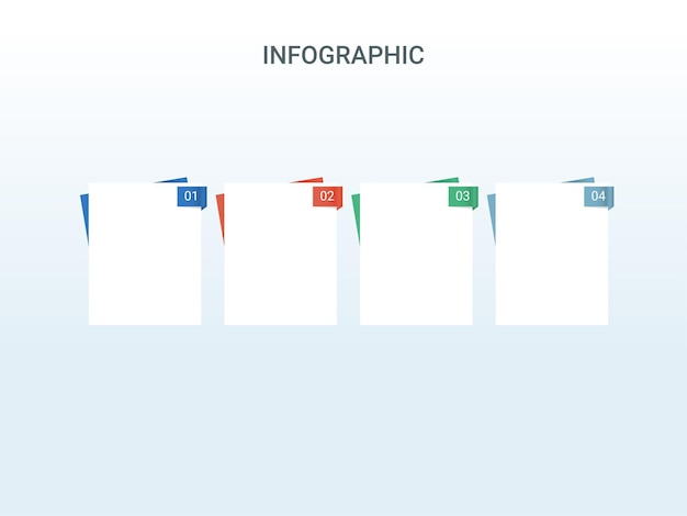 Design de modelo de cronograma de infográfico de negócios com quatro opções de ícones coloridos sobre fundo branco.
