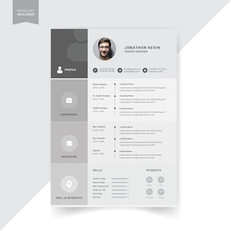 Design de modelo de currículo criativo, cor cinza