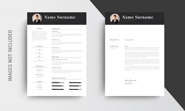 Design de modelo de currículo profissional cv e papel timbrado, carta de apresentação, pedidos de emprego de modelo, preto e branco
