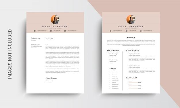 Design de modelo de currículo profissional cv e papel timbrado, carta de apresentação, pedidos de emprego de modelos