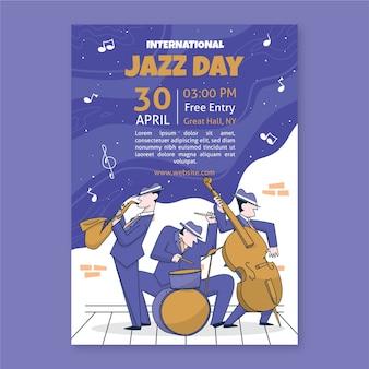 Design de modelo de dia internacional de jazz desenhados à mão