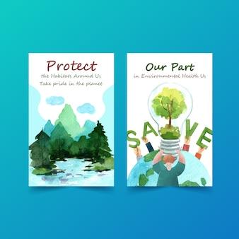 Design de modelo de ebook para o dia mundial do ambiente. salvar o conceito de mundo planeta terra com vetor de aquarela amigável ecologia