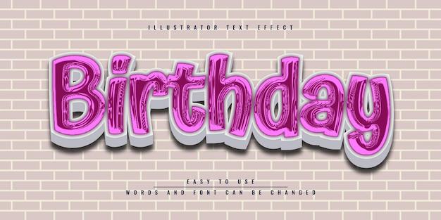 Design de modelo de efeito de texto 3d editável de feliz aniversário