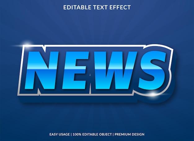 Design de modelo de efeito de texto de notícias com estilo abstrato